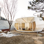 The Stacking Doughnut is a circular tent with separate entrances to the bedroom and living room. (Courtesy ArchiWorkshop)