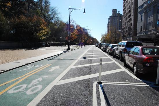 Prospect Park West bike lane.  (Flickr /  Steven Vance)