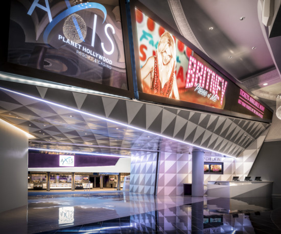 Las Vegas is bouncing back from the recession with new construction, including Gensler's 2013 renovation of The AXIS Theater inside Planet Hollywood. (Ryan Gobuty for Gensler)