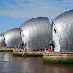 Built in 1982 to protect London from flooding caused by tidal surges, the Thames Barrier is made up of 10 steel gates that span more than a quarter mile across England's largest river. (Mirrormere – Fotolia.com)
