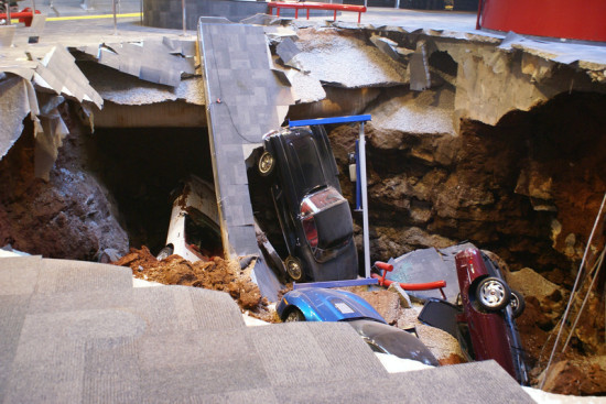 In total, eight cars were swallowed by the sinkhole. (Courtesy National Corvette Museum)