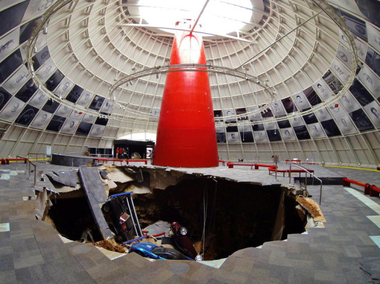 The sinkhole. (Courtesy National Corvette Museum)