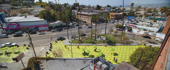 "Rios Clementi Hale's Sunset Triangle Plaza. Sunset Boulevard in Silverlake is already considered a ""Great Street"" (Rios Clementi Hale)"