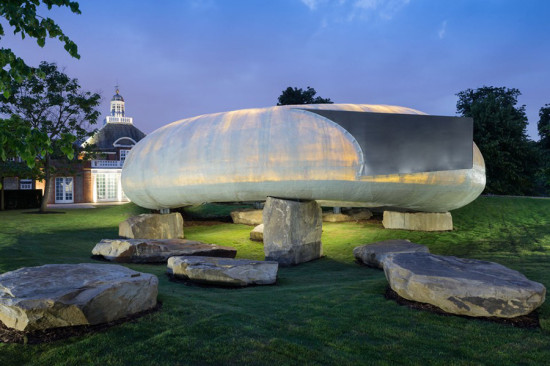 Perched atop several large boulders, this year's pavilion is an organically shaped fiberglass shell that houses a cafe. (Courtesy Serpentine Gallery)