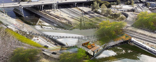The Figueroa Landbridge would have converted the old span into a pedestrian park. (Courtesy RAC Design Build)