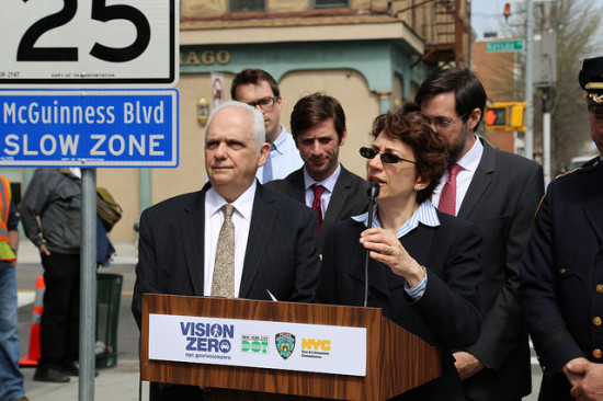 "DOT Commissioner Trottenberg announcing a Vision Zero ""Slow Zone"" in Brooklyn. (DOT / Flickr)"