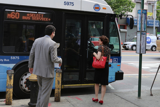 Trottenberg checking out new Select Bus Service in Harlem in May. (DOT / Flickr)