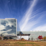 Two glass curtain wall systems open the opposite sides of the building to the rest of campus. (Peter Aaron/ESTO)