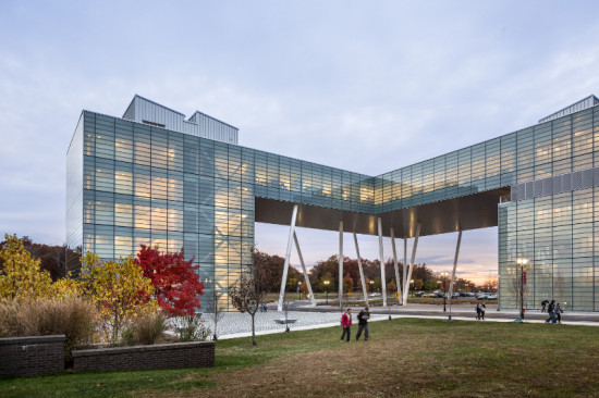 Frit glass curtain walls open the inner facade to the rest of campus. (Peter Aaron/ESTO)