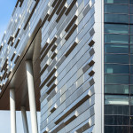 TEN Arquitectos designed a folded anodized aluminum facade to enliven the sides of the building facing away from campus. (Peter Aaron/ESTO)