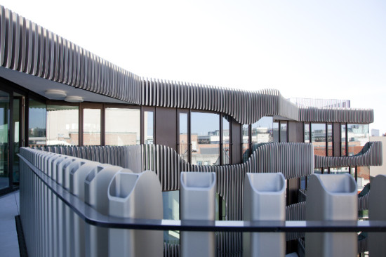 The aluminum tubes are strong enough to double as balcony balusters. (Patricia Parinejad for Euroboden)