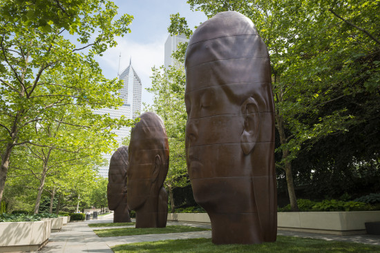 """Three pieces entitled """"Paula,"""" """"Laura,"""" and """"Ines"""" occupy the South Boeing Gallery next to Crown Fountain in Chicago's Millennium Park. (City of Chicago / Patrick Pyszka)"""