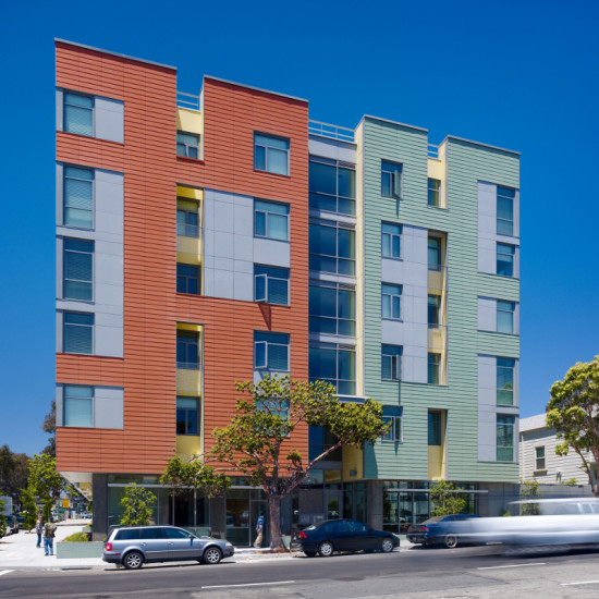 The building's bold facade makes its mark on an up-and-coming neighborhood. (Tim Griffith)