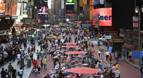 Gehl created a roadmap for rethinking New York's streetscapes, like Times Square. (NYDOT)