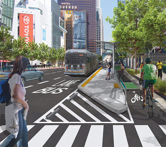 Improvements are already planned on this stretch of Figueroa Street south of Downtown Los Angeles (above), but a new Great Streets plan brings improvements to additional portions of the street. (Courtesy MyFigueroa)