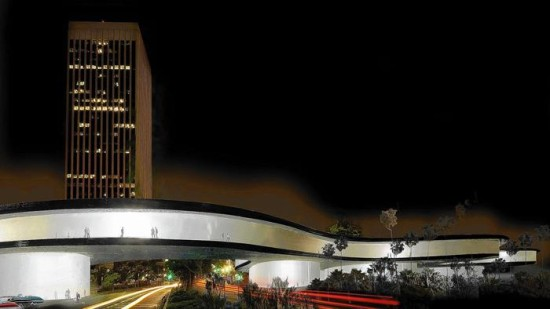 Zumthor's new plan would bridge Wilshire Boulevard. (Courtesy LACMA)
