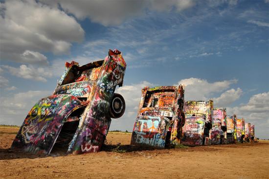 Texas' quirky Cadillac Ranch installation. (Doug Wighton / Flickr)