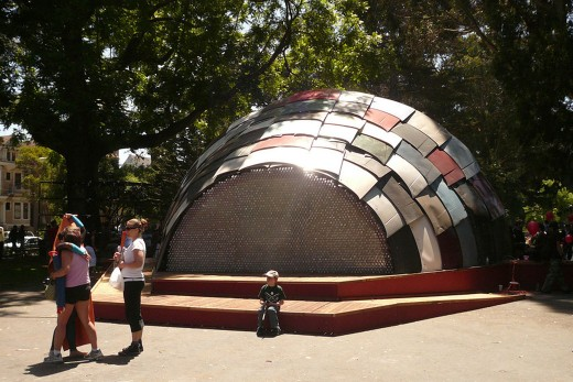 Rebar's Panhandle Bandshell, made completely from recycled materials like bottles and car parts. (Rebar)