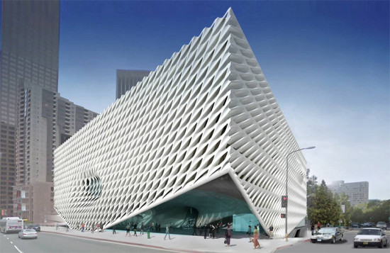 Rendering of The Broad's honeycomb facade (DS+R)