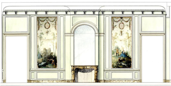 Preliminary sketch for the Bas de Montargis and Oudry galleries by Jacques Garcia.