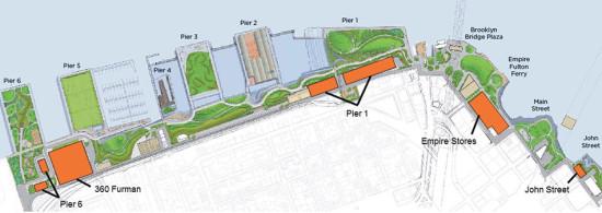 Development sites at Brooklyn Bridge Park. (Courtesy Brooklyn Bridge Park Conservancy)