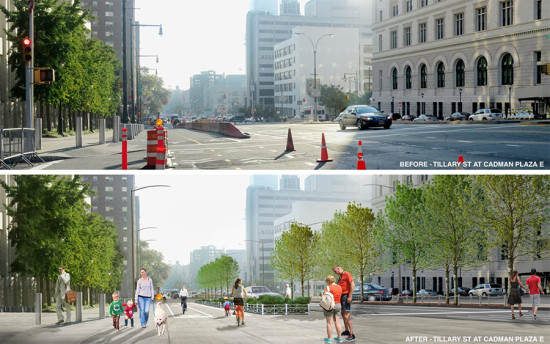 Before and after at Tillary Street near the Brooklyn BrideW LANDSCAPING WILL TRANSFORM THE PUBLIC SPACE ALONG TILLARY STREET.