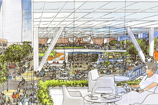 """The """"urban room"""" of Foster's tower. (Courtesy TMG & Foster + Partners)"""