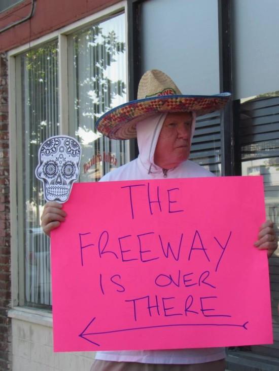 "Protestor at ""Walk of the Dead"" in Highland Park (NELA Art Gallery Night)"