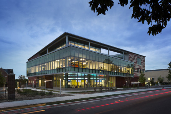 The remainder of the facade is clad in high performance glass. (James Ewing)