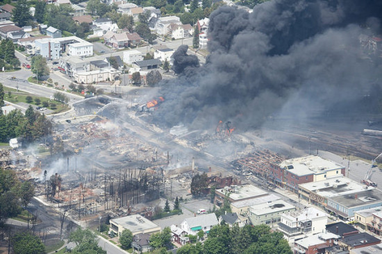 After an oil train exploded in Lac Megantic, Quebec last year. (Flickr / EliasSchewel)