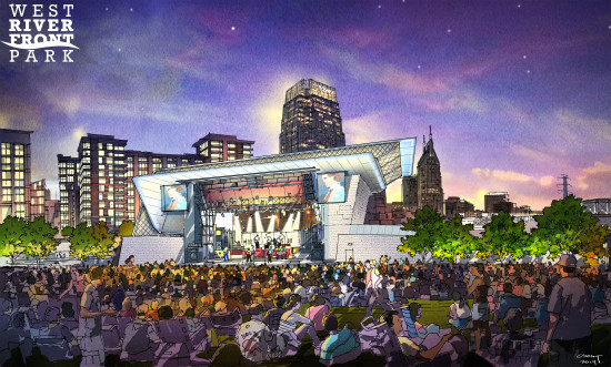 The amphitheater at night. (Courtesy Tk and Smith Gee Studio)