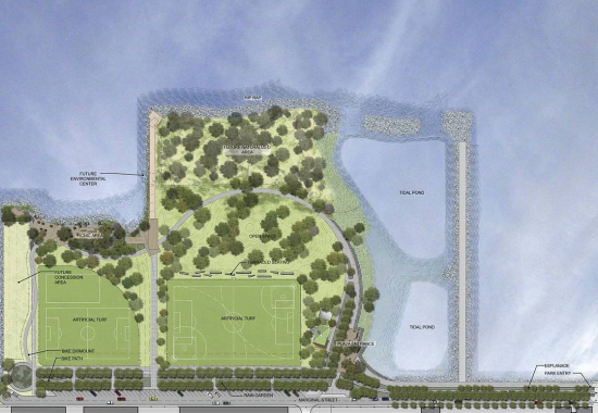 Aerial rendering of Bush Terminal Piers Park. (Courtesy Adrian Smith Landscape Architecture)