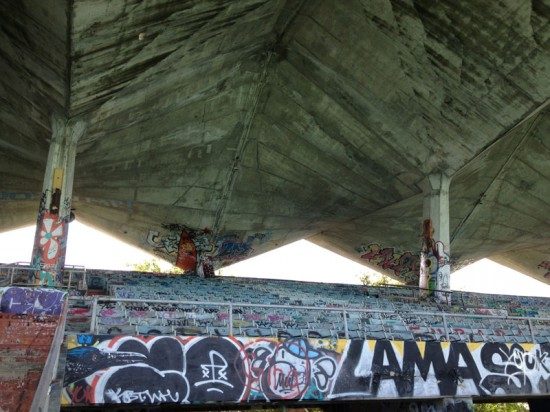 Marine Stadium's cantilevering roof. (Nicole Anderson / AN)