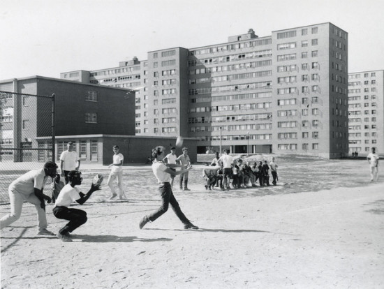 """Baseball in DeSoto Park"" by St. Louis' Pruitt-Igoe housing development. (Via Michael Allen / Flickr)"