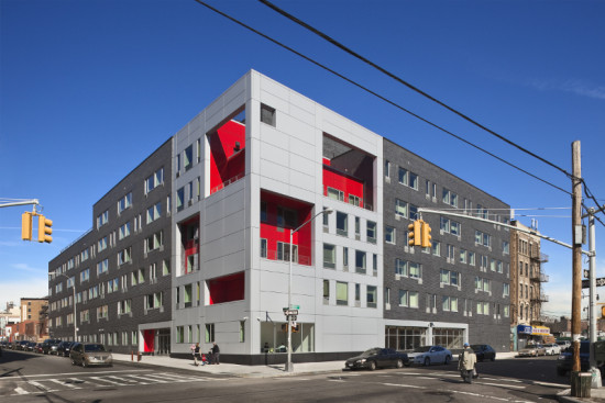 Located in the Bronx, The Brook provides housing and support services for the formerly homeless and individuals living with HIV/AIDS. (Courtesy Alexander Gorlin Architects)