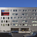 The Brook's facade directly expresses its two-part program. (Courtesy Alexander Gorlin Architects)