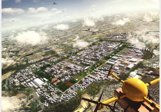 Drone over Heathrow. (Courtesy Maccreanor Lavington, Hawkins Brown and Rick Mather Architects)