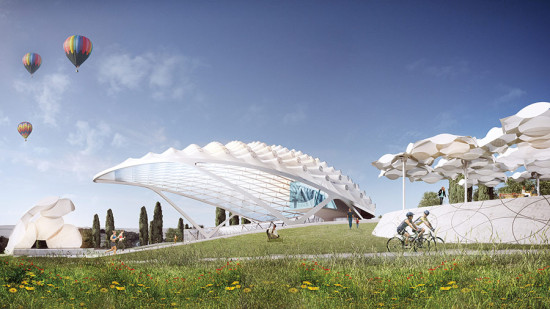 Just some hot air balloons in Tuscany. (Courtesy Asymptote Architecture)