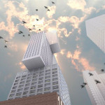 Birds fly by one of OMA's unbuilt works. (Courtesy OMA)