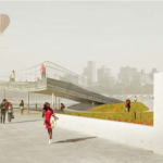 Hot air balloons at Brooklyn Bridge Park. (Landscape by Michael Van Valkenburgh, pier by BIG)