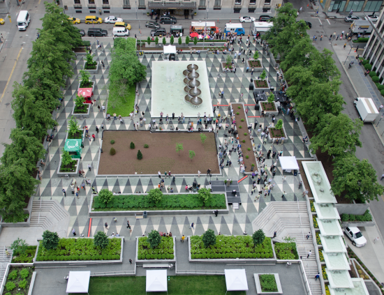 Aerial view of Mellon Square. The refurbished fountain and stairway. (Courtesy Pittsburgh Parks Conservancy)