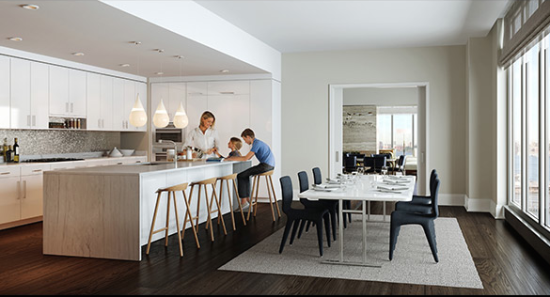 A kitchen in a condo. (Courtesy Extell)