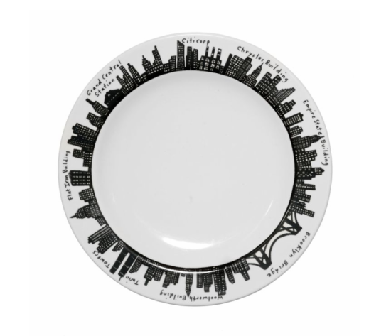"Dinner plate in the ""212"" collection. (Courtesy Fishs Eddy)"