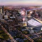 Fireworks over the Vikings Stadium in Minneapolis. (Courtesy HKS)