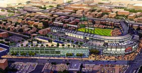 "In 2013 The Cubs proposed a ""Triangle Building"" to the west of Wrigley. (The Cubs)"