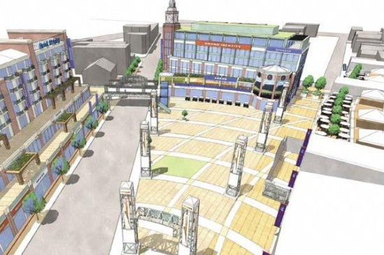 A rendering of the open-air plaza proposed next to Wrigley Field. (Chicago Cubs)