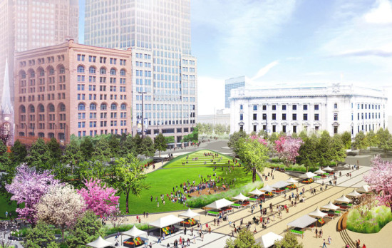 Cleveland's Public Square is the subject of a major redesign, which recently received a funding boost from a local foundation. (James Corner Field Operations and LAND Studio)