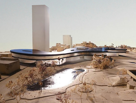 Model of Zumthor's newest scheme for LACMA, along with massing study of new tower. (Courtesy LACMA)