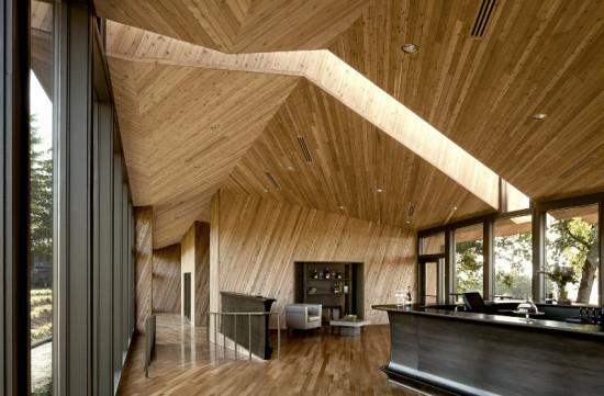 Inside, diagonal runs of clear cedar change each time they hit a seam. (Bittermann Photography)