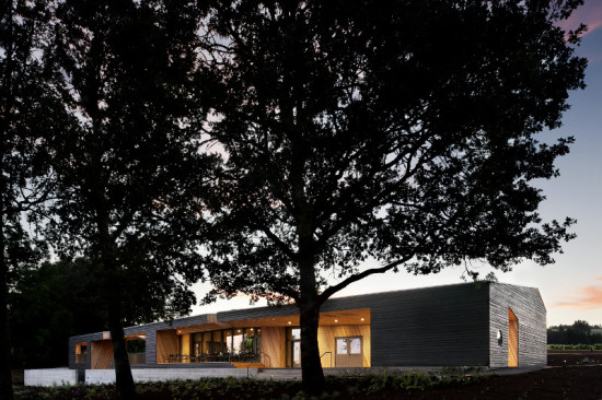 Allied Works Architecture wrapped Sokol Blosser Winery's new tasting room in grey-stained cedar. (Jeremy Bittermann)